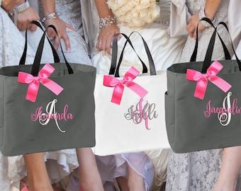 Bridesmaid Gift, 4 Personalized Tote Bag, Bridesmaid Gifts (Set of 4) Monogrammed Tote, Bridesmaid Tote, Personalized Tote