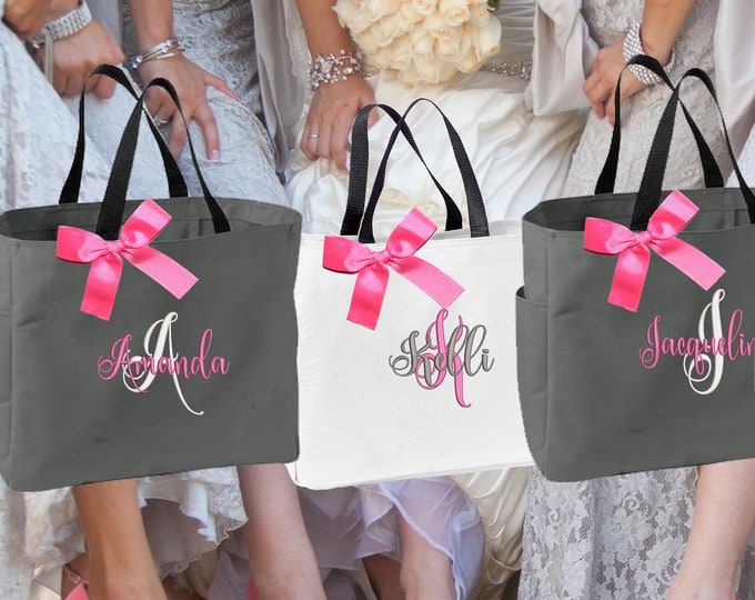 Bridesmaid Gift, 4 Personalized Tote Bag, Bridesmaid Gifts (Set of 4) Monogrammed Tote, Bridesmaid Tote, Personalized Tote (ESS1)