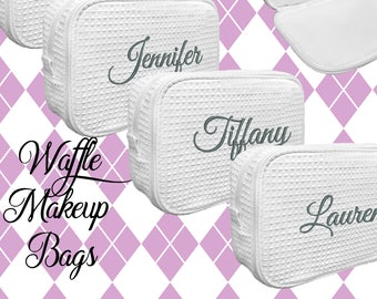 Personalized Makeup Bag, Bridesmaid Cosmetic Waffle Bag, Bridesmaid Bag, Monogrammed Bag, Personalized Bridal Party Gift