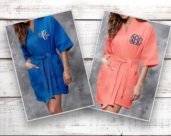 Cozy Personalized Robe, Bridesmaid Robes ,Monogrammed Robe, Waffle Robe, Kimono, Cotton Waffle Robe, Getting Ready, Discontinue