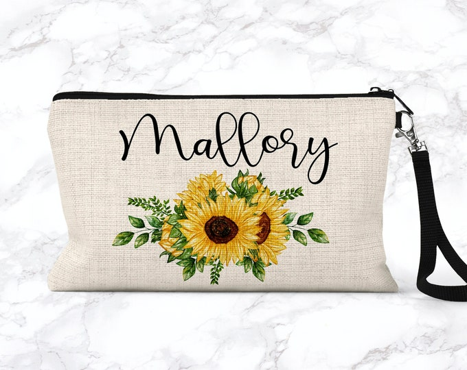 Sunflower Makeup Bag, Bridesmaid Gift, Cosmetic Pouch, Personalized Makeup Bag COS SUN02