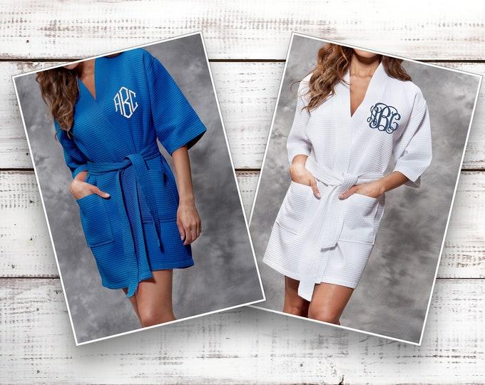Personalized Bridesmaid Robe  Monogrammed Waffle Robe Personalized Gifts Thigh Bridesmaid Gift Idea Robe Thigh Length Kimono Robes Spa Robe