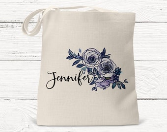Personalized Bridesmaid Bag, Bridal Party Gift, Floral Tote DS3006