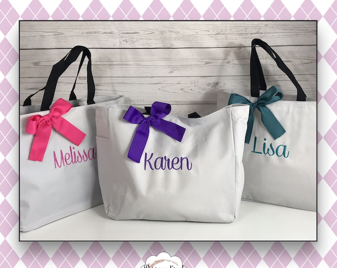 Set of 13 Personalized Bridesmaid Tote Bags- Wedding Party Gift- Bridal Party Gift- Initial Tote- Mother of the Bride Gift (ESS1)