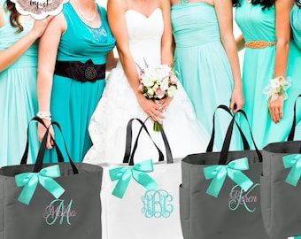 Bridesmaid Gifts Personalized Wedding Tote Bag, Wedding Party Gift, Bridal Party Gift, Monogrammed Tote, Personalized Embroidery (ESS1)