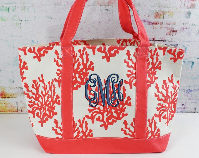 Monogrammed Canvas Tote, Heavy Duty Large Coral Reef Bag