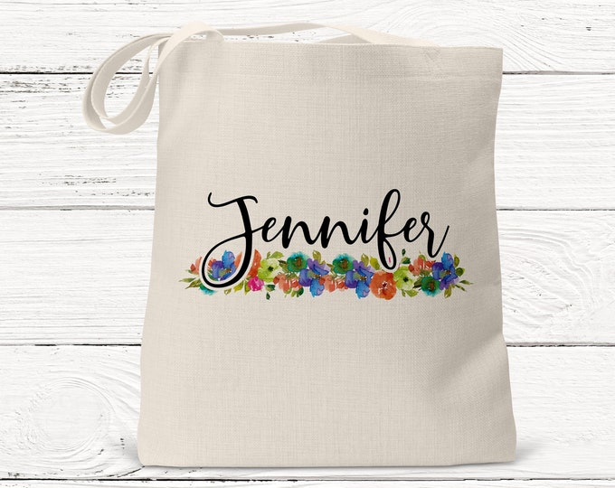 Personalized Tote bag, Floral design Tote Bags Ds3077