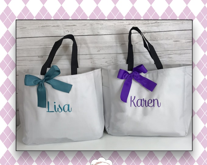 8 Personalized Bridesmaid Gift Tote Bag- Bridesmaid Gift- Personalized Bridemaid Tote - Wedding Party Gift - Name Tote- (ESS1)