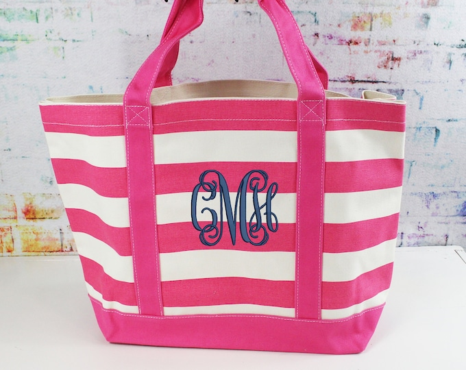 Monogrammed Canvas Tote, Heavy Duty Large Pink Stripe Bag