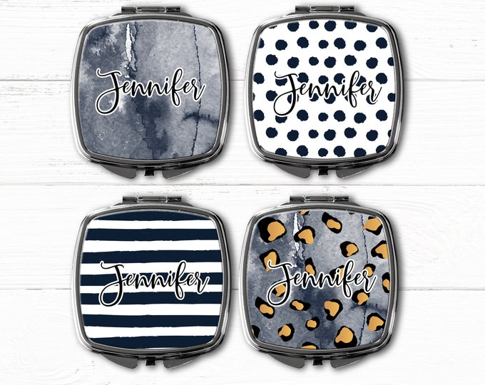 Midnight compact Mirror, pocket mirror, personalized gift for her, sister gift bridesmaid gift