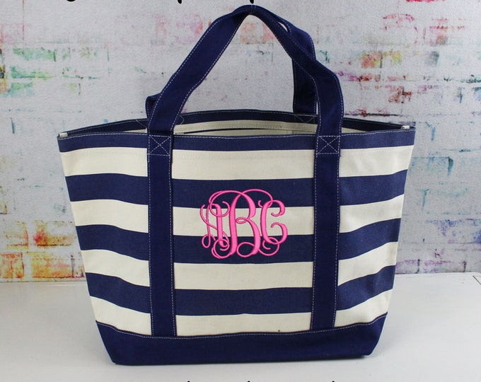 Monogrammed Canvas Tote, Heavy Duty Large Navy Stripe Bag