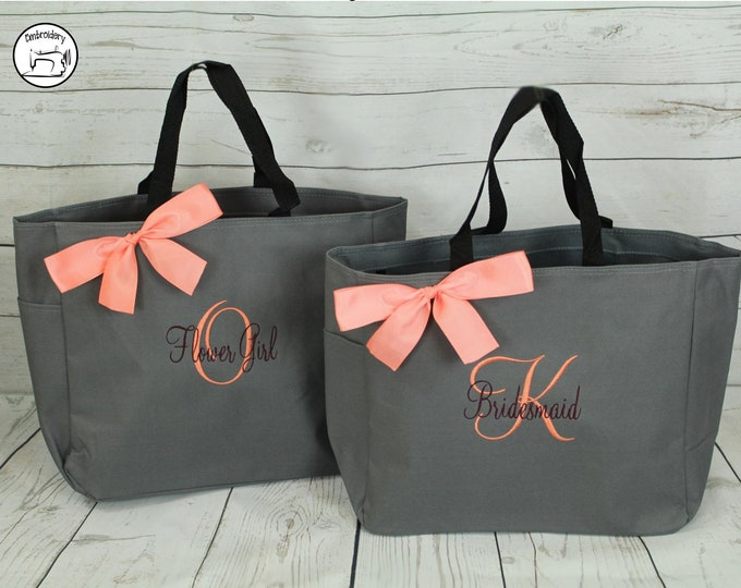 Personalized Bridesmaid Gift Tote Bag, Personalized Tote, Bridesmaids Gift, Monogrammed Tote, Set of 8, set of 6, set of 10 (ESS1)