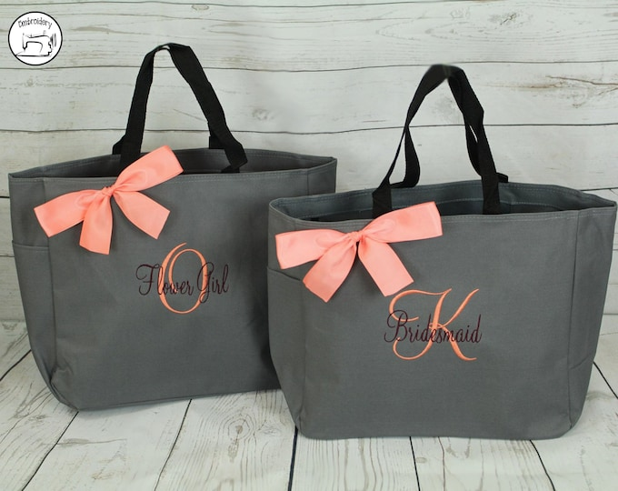 personalized bridesmaid tote bag, bridesmaid gifts, beach bag, bachelorette party gift, maid of honor gift (ESS1)