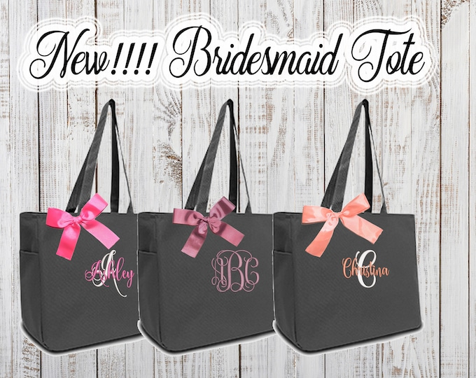 New Personalized Tote Bags  Personalized Bridesmaid Tote, Bridesmaids Gift, Monogrammed Tote, Maid of Honor Tote Bag, Wedding Day Tote