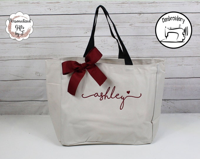 SALE** Personalized Bridesmaids Gift Tote Bags, Monogrammed Tote, Bridesmaids Tote, Personalized Tote Wedding Shoreline Script