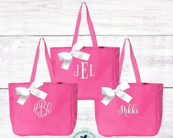 Pink Monogrammed Tote Bag, Bridesmaids Gifts, Personalized Bridesmaid Bags, Bridal Party Tote, Mom Gift, Monogrammed Tote EDT1