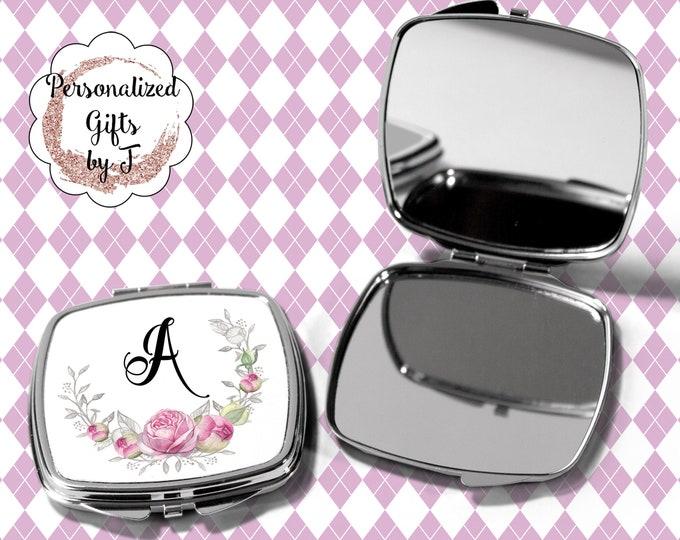 Pocket Mirror, Bridesmaids Gifts, Pink Rose, Personalized Bridesmaid Gift, Personalized Compact Mirror, Monogrammed Mirror design 1123