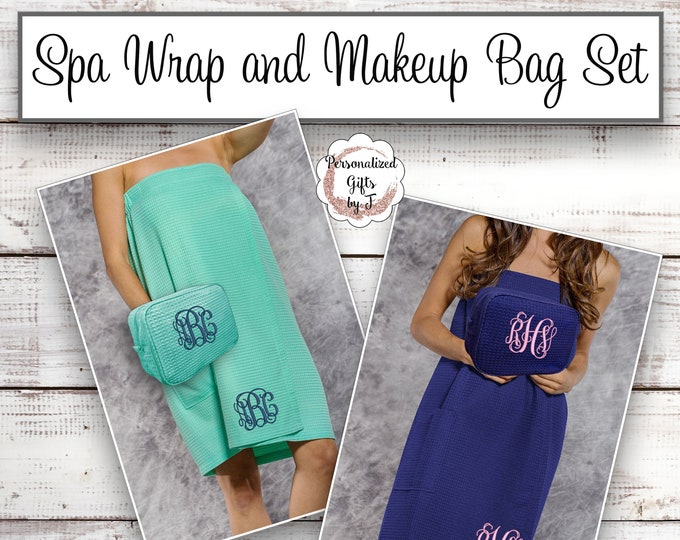 Spa Wrap and Makeup Bag Set, Towel Wrap, Cosmetic Bag, Bridesmaid Gift, College, Graduation Gift, Back to School, Shower Wrap and Toiletry