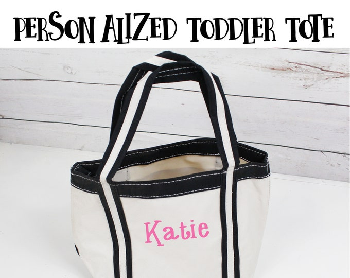 Personalized Childs Tote, Toddler Tote Bag, Flower Girl Tote