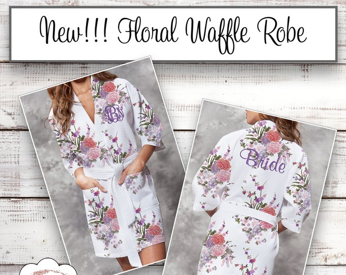 Personalized Bridesmaid Robe, Monogrammed Robes, Floral Waffle Robe, Bridesmaids Gifts, Getting Ready Robe, Bride Gift Robe, Kimono