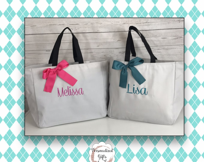 Personalized Bridesmaid Gift Tote Bags- Bridesmaid Gift- Personalized Bridemaid Tote - Wedding Party Gift - Name Tote- (ESS1)