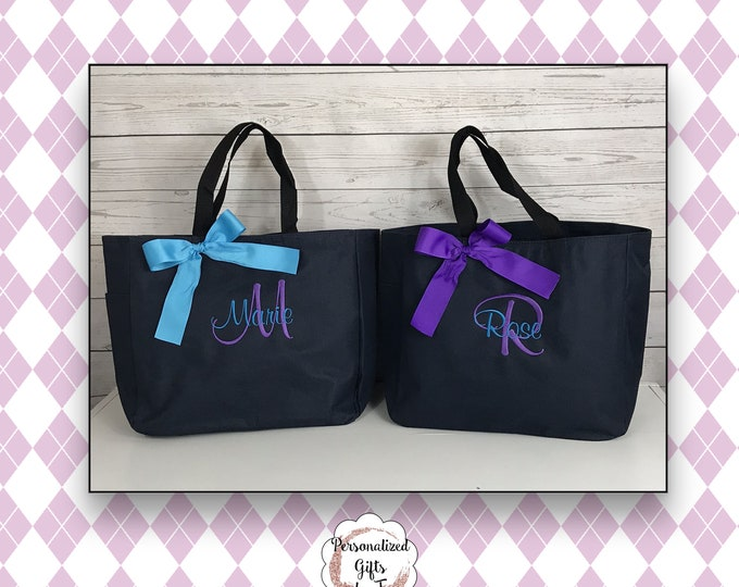 Set of 5 Bridesmaid Tote Bags, Maid of Honor Tote, Personalized Bridesmaid Bags, Bridal Party Gifts, Sister Gift, Gift for her (ESS1)
