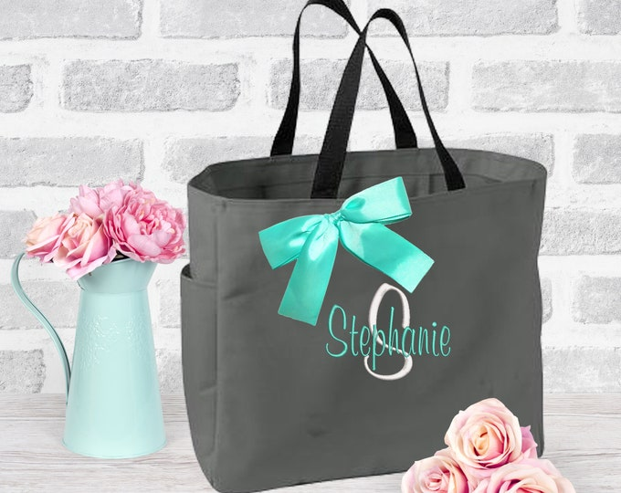 8 Personalized Bridesmaid Gift Tote Bag Wedding Party Gifts Bridesmaids Tote Bridal Party Gifts Wedding Day Bag (ESS1)