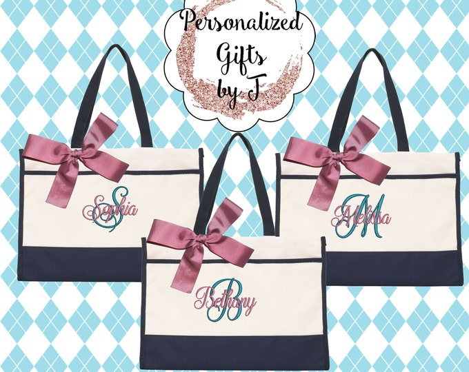 Monogrammed Tote Bag (set of 8)- Bridesmaid Gift- Personalized Bridesmaid Bag/ contemporary tote (CT1)
