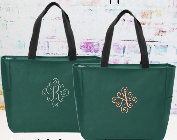Personalized Zipper Tote Bag, Monogrammed Bag, Embroidered (NSZ1)