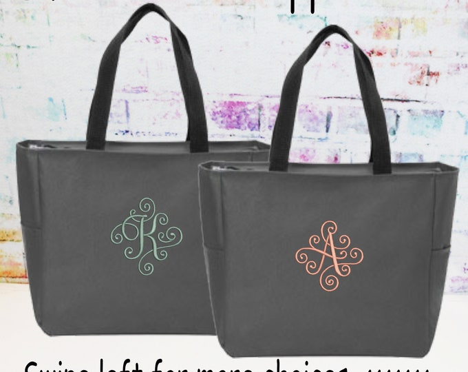 Personalized Zipper Tote Bag, Monogrammed Bag, Embroidered Elegant Scroll