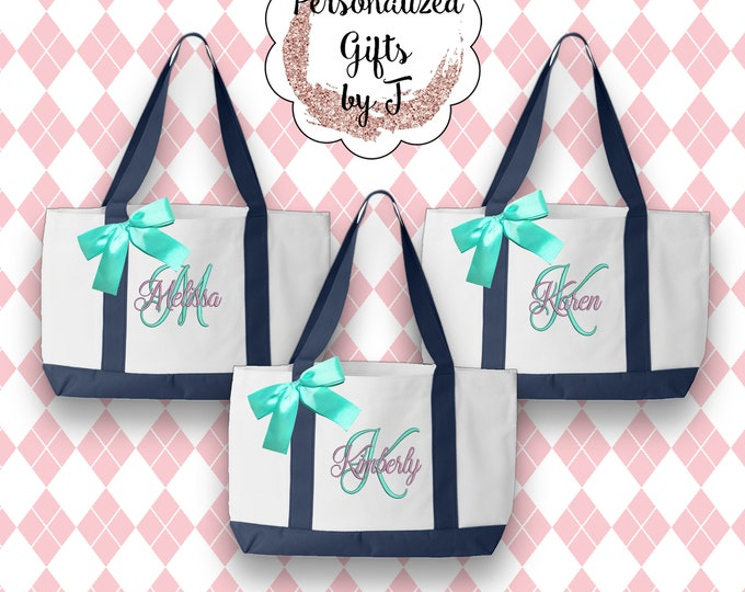 6 Bridesmaid Tote, Bridesmaids Gifts,Personalized, Monogrammed, Team Bride, 2- Color, Tote Bags, Monogram Totes, Personalised Wedding Tote