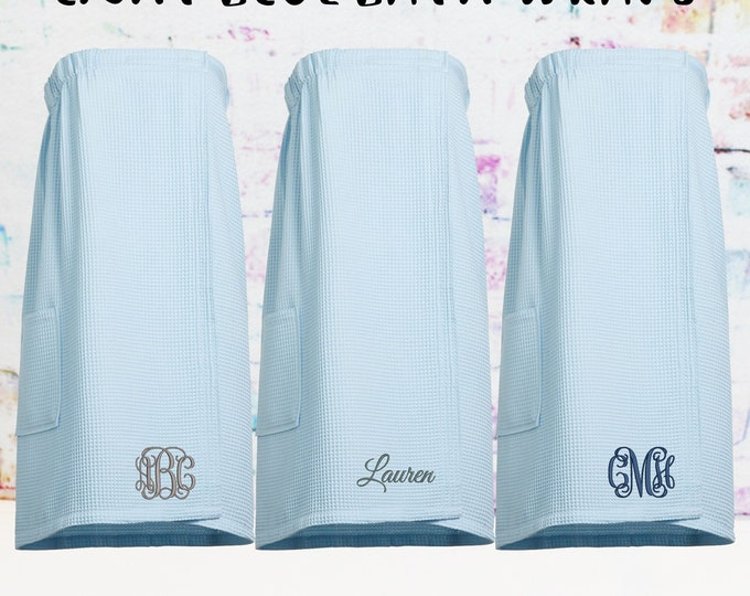 Sale** Light Blue Waffle Spa Wrap, Towel Wrap, Gift under 20,