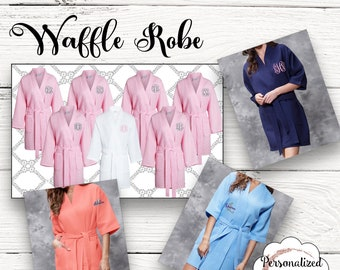 Personalized Bridesmaids Gifts Monogrammed Robe Monogram Waffle Robe Bridesmaid Robe Kimono Robe Personalized Bridesmaids Gifts Bridal Robe