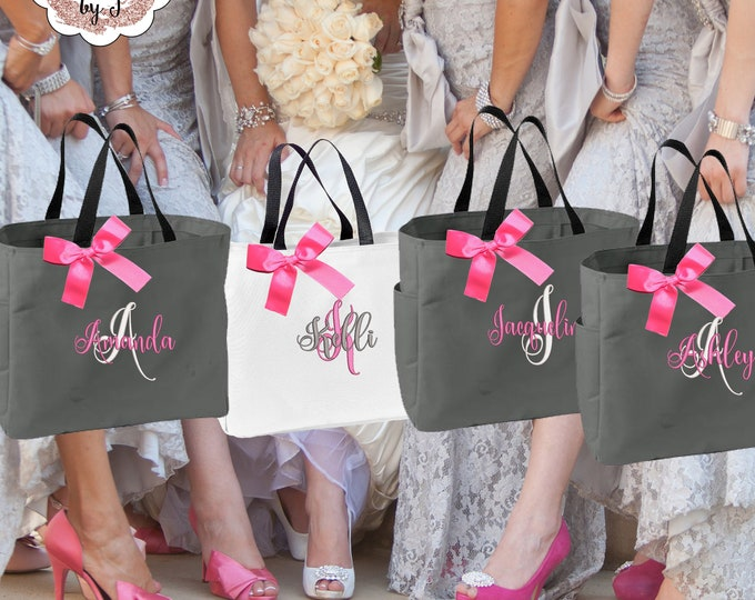 Bridesmaid Tote Bags Personalized Bridesmaid Gift Tote Bag Wedding Party Gift Bridal Party Gift Initial Tote Mother of the Bride (ESS1)