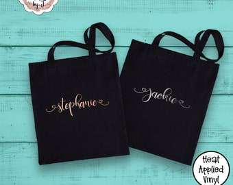 Personalized Cotton Canvas Tote Bag Gift Bag Bridesmaid Tote Bag Metallic Rose Gold Silver Name Tote Teacher (1003)