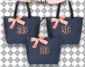 3 Personalized Bridesmaid Gift Zippered Tote Bag Navy and Coral Personalized Tote, Bridesmaids Gift, Monogrammed Tote