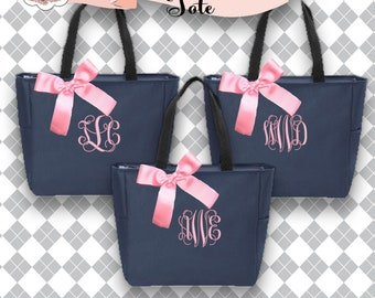 9 bridesmaid tote bags , bridesmaid gifts , zipper tote bag , beach bag , bachelorette party gift ,wedding bag , maid of honor