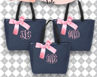 9 bridesmaid tote bags , bridesmaid gifts , zipper tote bag , beach bag , bachelorette party gift ,wedding bag , maid of honor