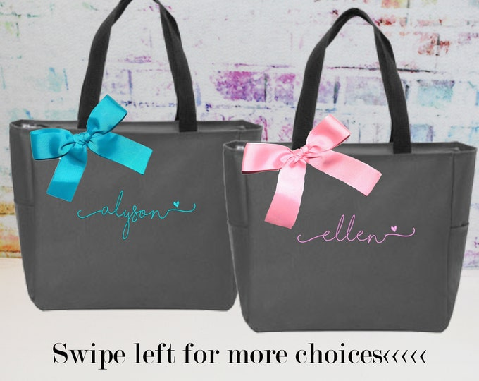 Personalized Bridesmaid Tote Bags- Embroidered zipper Tote