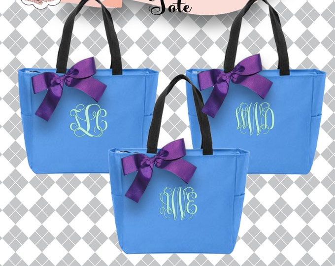 10 Personalized Bridesmaid Gift Tote Bags Monogrammed Tote, Bridesmaids Tote, Personalized Tote, Zipper Tote