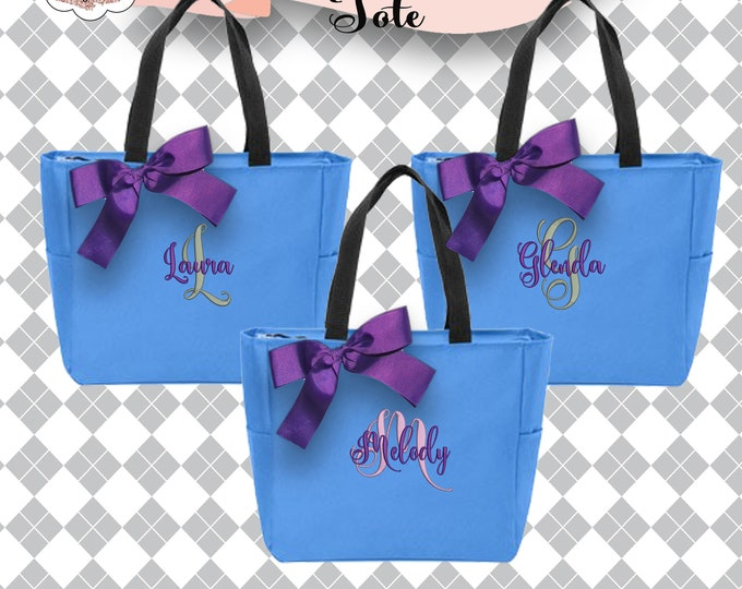 12 Personalized Tote Bags, Bridesmaid Gift Monogrammed Tote, Bridesmaids Tote, Personalized Zippered Tote
