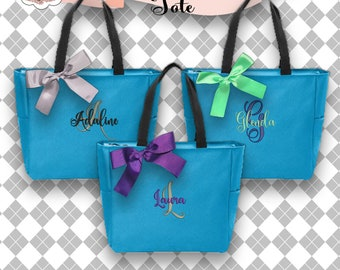 5 Personalized Zipper Tote Bags, Bridesmaid Gifts (Set of 5) Monogrammed Tote, Bridesmaid Tote, Personalized Tote