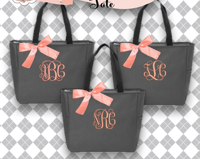 7 Bridesmaid Gift Tote Bags, Monogrammed Tote, Bridesmaids Totes, Personalized Tote, Wedding Tote Bag, Maid of Honor Gift, Zipper