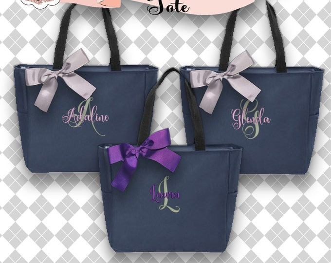 4 bridesmaid Totes , Bridesmaids Gift, Bridesmaid Tote Bag, Personalized Wedding Bag, Bridal Party Gift, Monogrammed Totes, Zippered Tote