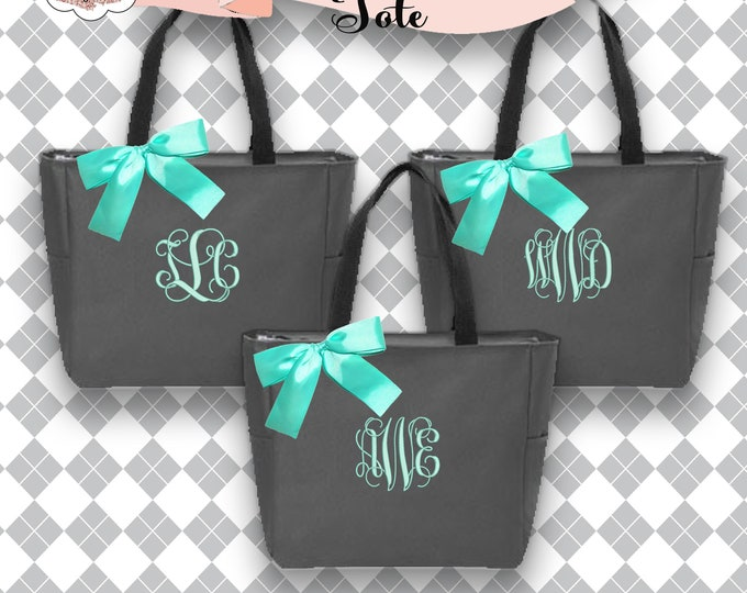 6 Personalized Bridesmaid Gift Tote Bags, Wedding Day Totes, Bridal Party Gifts, Bridesmaids Tote, Monogrammed Zipper Bags, Personalized