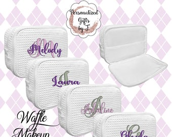 Personalized Makeup Bag, Bridesmaid Cosmetic Waffle Bag, Bridesmaid Bag, Monogrammed Bag, Personalized Bridal Party Gift