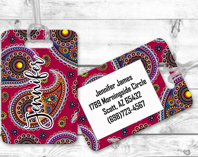 Personalized Luggage Tag, Airport Bag Tag, Custom luggage Identifier, Luggage Name Tag, Paisley Design