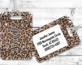 luggage tags, personalized luggage tag, Leopard Print bag tag, carry on bag tag, custom tag, destination bridesmaid gift