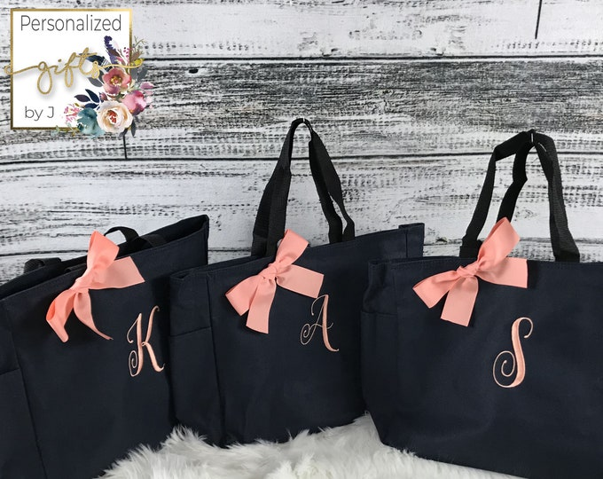 5 Personalized Tote Bags, Bridesmaid Gifts, (Set of 5) Monogrammed Tote, Bridesmaids Tote, Personalized Tote (ESS1)