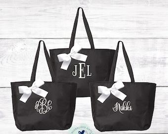 Black Monogrammed Tote Bag, Bridesmaids Gift, Bridesmaid Tote Bag, Personalized Wedding Bag, Bridal Party Gift, Monogram Bridal Party  EDT1